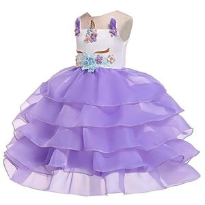 Floral Applique Layer Ruffles Dress Purple Unicorn